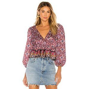 Revolve NWT Majorelle Floral Wrap Front Top